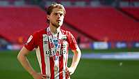Brentford's Mathias Jensen proudly wears his Championship winners medal and quietly reflects on a historic day during Brentford vs Swansea City, Sky Bet EFL Championship Play-Off Final Football at Wembley Stadium on 29th May 2021