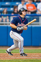 Adam Davis #6 of the Kinston Indians follows through on his swing against the Salem Red Sox at Lewis-Gale Field May 1, 2010, in Winston-Salem, North Carolina.  Photo by Brian Westerholt / Four Seam Images