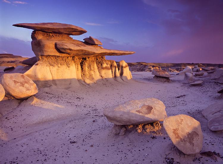 "Eroded sandstone rock formation in ""Mushroom City"" in Bisti Badlands"