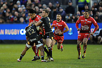 Ma'a Nonu of RC Toulon is tackled by Kyle Eastmond and George Ford of Bath Rugby during the European Rugby Champions Cup match between Bath Rugby and RC Toulon - 23/01/2016 - The Recreation Ground, Bath Mandatory Credit: Rob Munro/Stewart Communications