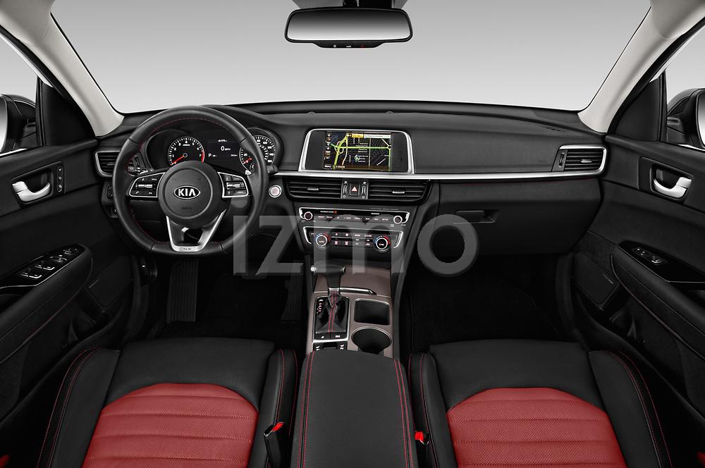 Stock photo of straight dashboard view of a 2019 KIA Optima SX-Turbo 4 Door Sedan