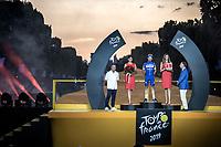 Julian Alaphilippe on podium as most combative rider of the Tour de France 2019.<br /> <br /> Stage 21: Rambouillet to Paris (128km)<br /> 106th Tour de France 2019 (2.UWT)<br /> <br /> ©kramon