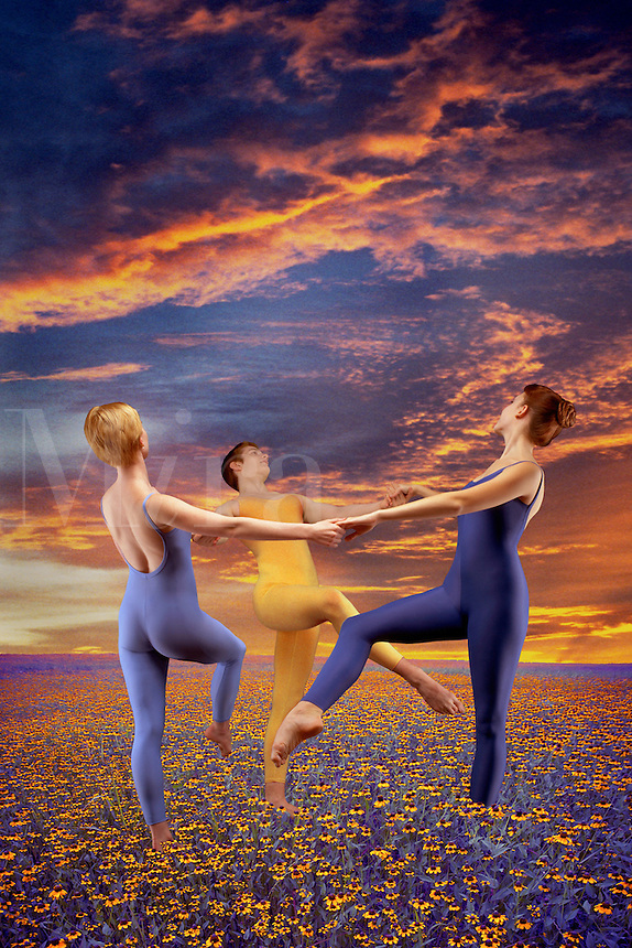 Digital illustration: modern dancers in a flower meadow at sunset.