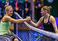 Rotterdam, Netherlands, December 12, 2017, Topsportcentrum, Ned. Loterij NK Tennis, Womans Wheelchair, Diede de Groot (NED) (L) is congratulated by Donna Jansen (NED)<br /> Photo: Tennisimages/Henk Koster