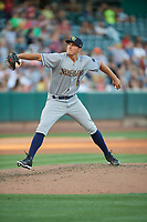 Mike Kickham (12) of the New Orleans Baby Cakes throws to the plate in action against the Salt Lake Bees at Smith's Ballpark on June 11, 2018 in Salt Lake City, Utah. New Orleans defeated Salt Lake 6-5.  (Stephen Smith/Four Seam Images)