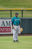AZL Mariners left fielder Jose Sandoval (41) on defense against the AZL Cubs on August 4, 2017 at Sloan Park in Mesa, Arizona. AZL Cubs defeated the AZL Mariners 5-3. (Zachary Lucy/Four Seam Images)