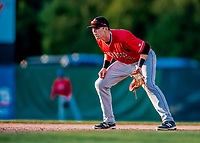 29 July 2018: Batavia Muckdogs first baseman Sean Reynolds in action against the Vermont Lake Monsters at Centennial Field in Burlington, Vermont. The Lake Monsters defeated the Muckdogs 4-1 in NY Penn League action. Mandatory Credit: Ed Wolfstein Photo *** RAW (NEF) Image File Available ***