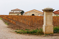 Chateau la Conseillante, in the foreground a vineyard that has just been newly planted and a stone gate post with the inscription of La Conseillante  Pomerol  Bordeaux Gironde Aquitaine France