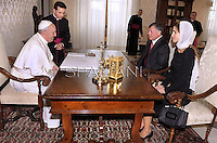 Pope Francis receives Jordan's king: Abdullah II ,Abd Allah ibn Husayn,   Rania of Jordan during a private audience at the Vatican on August 29, 2013.