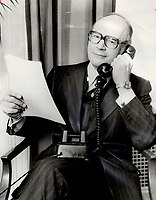 1977 FILE PHOTO - ARCHIVES -<br /> <br /> Since head office of a chartered bank must be in Canada; Royal Bank would have to move its headquarters out of Montreal in the event that Quebec were to secede from Canada; says Rowland Frazee; executive vice-president.<br /> <br /> PHOTO : Reg INNELL - Toronto Star Archives - AQP