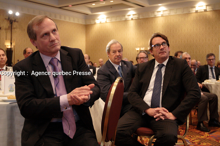 September 26 2012 - Montreal Quebec CANADA - Louis Audet, President & CEO of COGECO et Cogeco Cable,discuss with Pierre-Karl Peladeau, CEO QUEBECOR after speaking at the Canadian Club of Montreal's podium.<br /> <br /> PHOTO :  Agence quebec Presse -  Pierre Roussel