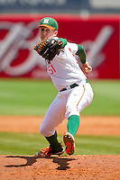 Miami Hurricanes relief pitcher Vince Kossak #51 in action against the Georgia Tech Yellow Jackets at the 2012 ACC Baseball Championship at NewBridge Bank Park on May 27, 2012 in Winston-Salem, North Carolina.  The Yellow Jackets defeated the Hurricanes 8-5.  (Brian Westerholt/Four Seam Images)