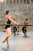 The Royal Ballet in class at the Aspendos Theatre, Antalya, Turkey