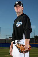 March 1, 2010:  Pitcher Brandon Morrow (23) of the Toronto Blue Jays poses for a photo during media day at Englebert Complex in Dunedin, FL.  Photo By Mike Janes/Four Seam Images