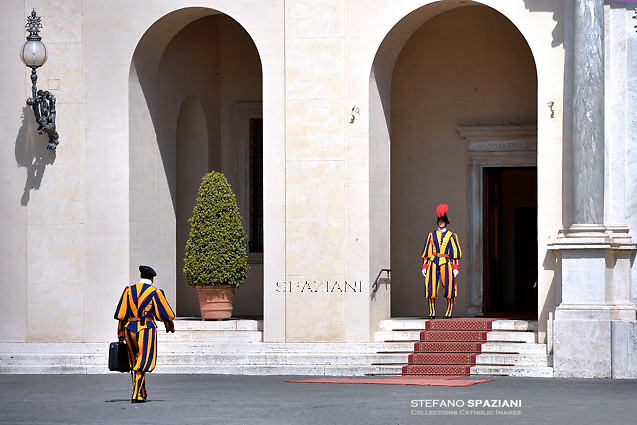 Pontifical Swiss Guard.The Corps of the Pontifical Swiss Guard or Swiss Guard,Guardia Svizzera Pontificia,responsible for the safety of the Pope, including the security of the Apostolic Palace. It serves as the de facto military of Vatican City.Pope Francis during a meeting with Seychelles President James Michel at the end of a private audience at the Vatican on April 30, 2015.