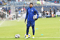 KANSAS CITY, KS - JULY 15: Sean Johnson #18 of the United States during a game between Martinique and USMNT at Children's Mercy Park on July 15, 2021 in Kansas City, Kansas.