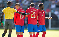 CARSON, CA - FEBRUARY 1: David Guzman #20, Marco Urena #21 and Keysher Fuller #4 of Costa Rica build a wall during a game between Costa Rica and USMNT at Dignity Health Sports Park on February 1, 2020 in Carson, California.