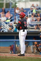 Batavia Muckdogs shortstop Demetrius Sims (55) at bat during a game against the Mahoning Valley Scrappers on August 18, 2017 at Dwyer Stadium in Batavia, New York.  Mahoning Valley defeated Batavia 8-2.  (Mike Janes/Four Seam Images)