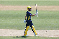 Joe Weatherley raises his bat to celebrate reaching his fifty for Hampshire during Hampshire Hawks vs Essex Eagles, Royal London One-Day Cup Cricket at The Ageas Bowl on 22nd July 2021