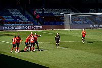 17th April 2021; Kenilworth Road, Luton, Bedfordshire, England; English Football League Championship Football, Luton Town versus Watford; Luton Town celebrate as they score with a penalty in the 77th minute scored by James Collins. Sonny Bradley of Luton Town celebrates.