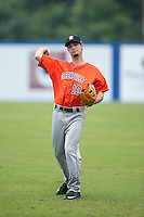 Aaron Mizell (10) of the Greeneville Astros warms up in the outfield prior to the game against the Kingsport Mets at Hunter Wright Stadium on July 7, 2015 in Kingsport, Tennessee.  The Mets defeated the Astros 6-4. (Brian Westerholt/Four Seam Images)