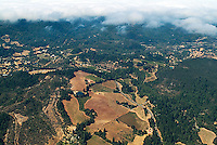 aerial photograph vineyards Mayacamas Mountains fog Sonoma Valley Sonoma County, California