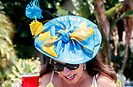 DEL MAR, CA  JULY 16: Del Mar hat benefitting PDJF, enters Del Mar from the parking lot (Photo by Casey Phillips/ Eclipse Sportswire/CSM)