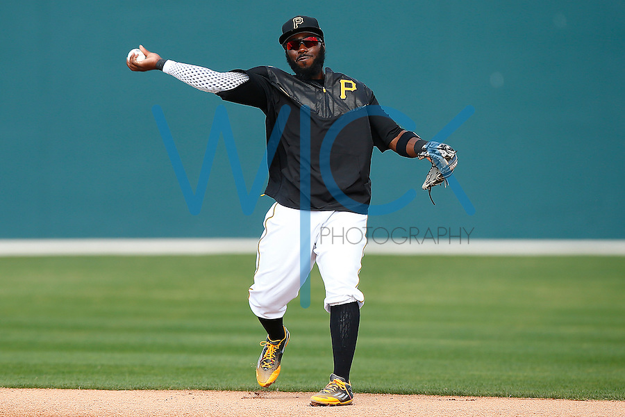 Josh Harrison #5 of the Pittsburgh Pirates works out during spring training at Pirate City in Bradenton, Florida on February 23, 2016. (Photo by Jared Wickerham / DKPS)