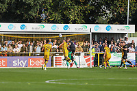 9th October 2021;  VBS Community Stadium, Sutton, London; EFL League 2 football, Sutton United versus Port Vale; Nathan Smith (6) of Port Vale scoring from a header for 0-1 in the 21st minute