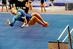 February 19, 2021: Long Island University's Katy Koopman competes on the uneven bars during the 2nd Annual George McGinty Alumni Meet at the SECU Arena at Towson University in Towson, Maryland. Scott Serio/Eclipse Sportswire/CSM