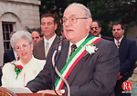 WATERBURY, CT 10/9/98--1009TK05.tif  Italian Mayor of the Day, Peter Ciullo addressing the crowd on the Plaza of Waterbury City Friday that came as part of the Columbus Day Celebration and to honor the UNICO CLUBÕs Italian mayor for the Day. Ciullo wife Lucille looks on to the left with Philip  A. Giordano Mayor of Waterbury standing in the background. --TOM KABELKA staff photo for Olmstead story.  (Filed in Scans/Scan-In)