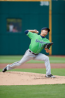 Gwinnett Stripers starting pitcher Miguel Socolovich (53) delivers a pitch during a game against the Columbus Clippers on May 17, 2018 at Huntington Park in Columbus, Ohio.  Gwinnett defeated Columbus 6-0.  (Mike Janes/Four Seam Images)