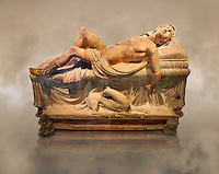 Etruscan funerary monument  known as  Adonis Dying, late 3rd century BC, made of terracotta and discovered near Tuscania, inv 14147, The Vatican Museums, Rome. Art Background. For use in non editorial advertising apply to the Vatican Museums for a license.