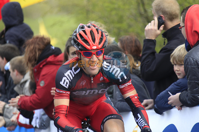 The tail end of the peloton including Amael Moinard (FRA) BMC Racing Team climbs the Cote de la Redoute during the 98th edition of Liege-Bastogne-Liege, running 257.5km from Liege to Ans, Belgium. 22nd April 2012.  <br /> (Photo by Eoin Clarke/NEWSFILE).