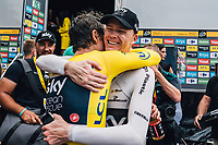Picture by Russell Ellis/russellis.co.uk/SWpix.com - image archived on 25/04/2019 Cycling Tour de France 2018 - Team Sky at the Tour de France - STAGE 20: SAINT-PÉE-SUR-NIVELLE - ESPELETTE 28/07/2018 ITT Individual Time Trial<br /> - Geraint Thomas with Chris Froome