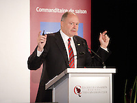 Montreal  (Quebec) CANADA - Monday, November 28, 2011 -  Yvon Bolduc, President and CEO of Fonds de solidarité FTQ <br /> annonce a major investment while speaking at the Canadian C<br />  lub of Montreal's podium