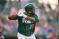 Fort Wayne TinCaps first baseman Carlos Belen (27) at bat during a game against the West Michigan Whitecaps on May 17, 2018 at Parkview Field in Fort Wayne, Indiana.  Fort Wayne defeated West Michigan 7-3.  (Mike Janes/Four Seam Images)