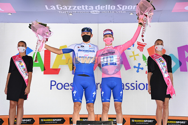 Race leader Joao Almeida (POR) Deceuninck-Quick Step retains the Maglia Rosa and leading team at the end of Stage 7 of the 103rd edition of the Giro d'Italia 2020 running 143km from Matera to Brindisi, Sicily, Italy. 9th October 2020.  <br /> Picture: LaPresse/Gian Mattia D'Alberto | Cyclefile<br /> <br /> All photos usage must carry mandatory copyright credit (© Cyclefile | LaPresse/Gian Mattia D'Alberto)
