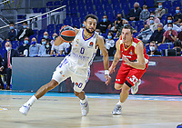 13th October 2021; Wizink Center; Madrid, Spain; Turkish Airlines Euroleague Basketball; game 3; Real Madrid versus AS Monaco;  Nigel Williams-Goss  (Real Madrid Baloncesto) breaks away from the defense of Danilo Andjusic (AS Monaco)
