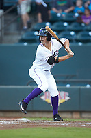 J.J. Muno (12) of the Winston-Salem Dash at bat against the Myrtle Beach Pelicans at BB&T Ballpark on August 6, 2018 in Winston-Salem, North Carolina. The Dash defeated the Pelicans 6-3. (Brian Westerholt/Four Seam Images)