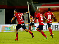 BUCARAMANGA - COLOMBIA, 21-04-2018: Los jugadores de Deportivo Independiente Medellin, celebran el gol anotado al Atletico Bucaramanga, durante partido entre Atletico Bucaramanga y Deportivo Independiente Medellin, de la fecha 17 por la Liga Aguila I 2018, jugado en el estadio Alfonso Lopez de la ciudad de Bucaramanga. / The players of Deportivo Independiente Medellin, celebrate a scored goal to Atletico Bucaramanga, during a match between Atletico Bucaramanga and Deportivo Independiente Medellin, for the 17th date for the Liga Aguila I 2018 at the Alfonso Lopez Stadium in Bucaramanga city Photo: VizzorImage  / Oscar Martínez / Cont.