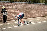 Edward Theuns (BEL/Trek-Segafredo) dropping out of the race (for a minute) early on to change socks...<br /> <br /> 60th De Brabantse Pijl 2020 - La Flèche Brabançonne (1.Pro)<br /> 1 day race from Leuven to Overijse (BEL/197km)<br /> <br /> ©kramon