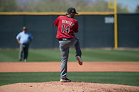 Arizona Diamondbacks relief pitcher Anfernee Benitez (14) prepares to deliver a pitch during a Spring Training game against Meiji University at Salt River Fields at Talking Stick on March 12, 2018 in Scottsdale, Arizona. (Zachary Lucy/Four Seam Images)