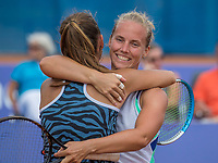 Amstelveen, Netherlands, 1 August 2020, NTC, National Tennis Center, National Tennis Championships, Women's Doubles final: Quirine Lemoine (NED) (L) and Richel Hogenkamp (NED) celebrate their win<br /> Photo: Henk Koster/tennisimages.com