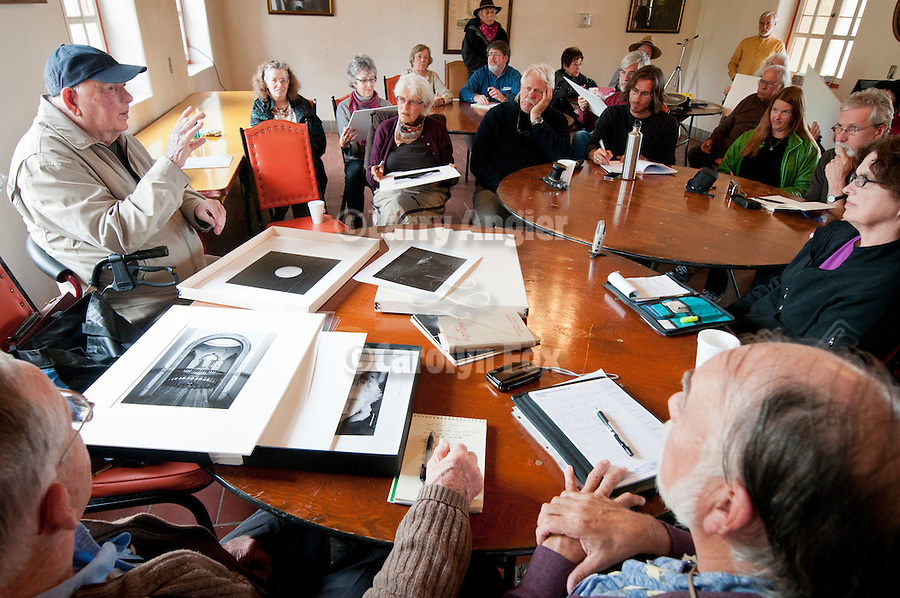 Al Weber discusses the Mission Portfolio, black and white processing and the craft of photography with the students, Mission San Antonio de Padua, California during his 3rd Mission Portfolio Workshop, April 2011.
