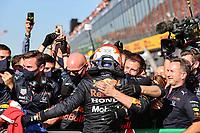 5th September 2021: Circuit Zandvoort, Zandvoort, Netherlands; F1 Grand Prix of the Netherlands 33 Max Verstappen NED, Red Bull Racing celebrates with Christian Horner GBR, Red Bull Racing, F1 Grand Prix of the Netherlands at Circuit Zandvoort