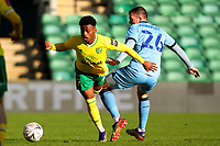 9th January 2021; Carrow Road, Norwich, Norfolk, England, English FA Cup Football, Norwich versus Coventry City; Jordan Shipley of Coventry City fouls Bali Mumba of Norwich City