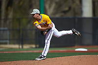 East Carolina Pirates relief pitcher Matt Bridges (27) follows through on his delivery against the Charlotte 49ers at Hayes Stadium on March 8, 2020 in Charlotte, North Carolina. The Pirates defeated the 49ers 4-1. (Brian Westerholt/Four Seam Images)