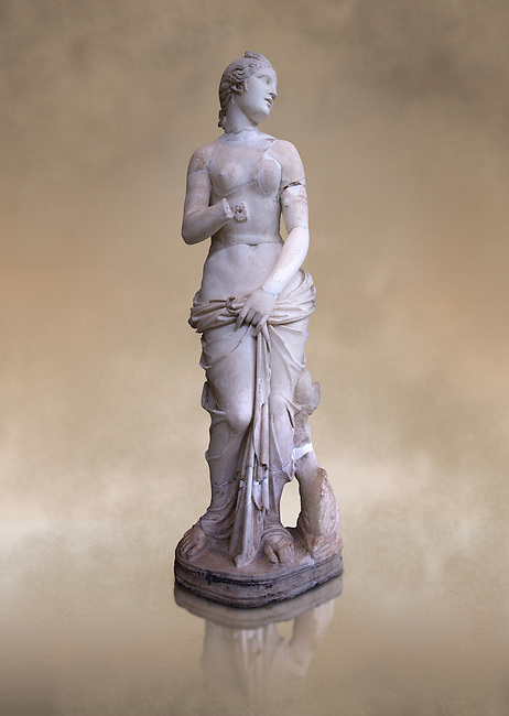 The Roman Venus Statue, the Goddess of Love, follows the style of a modest Aphrodite, known by other Roman replicas are copies of the third century BC Hellenistic Greek statues now lost. Dated circa 1st quarter of second century AD, the Venus statue was excavated from the Odeon of Carthage. The National Bardo Museum, Tunis.
