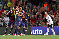 02/09/2012 - Liga Football Spain, FC Barcelona vs. Valencia CF Matchday 3 - Adriano celebrates his goal with Pedro and other team mates